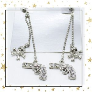 SILVER TONE GUN AND SKULL RHINESTONE EARRINGS NWT
